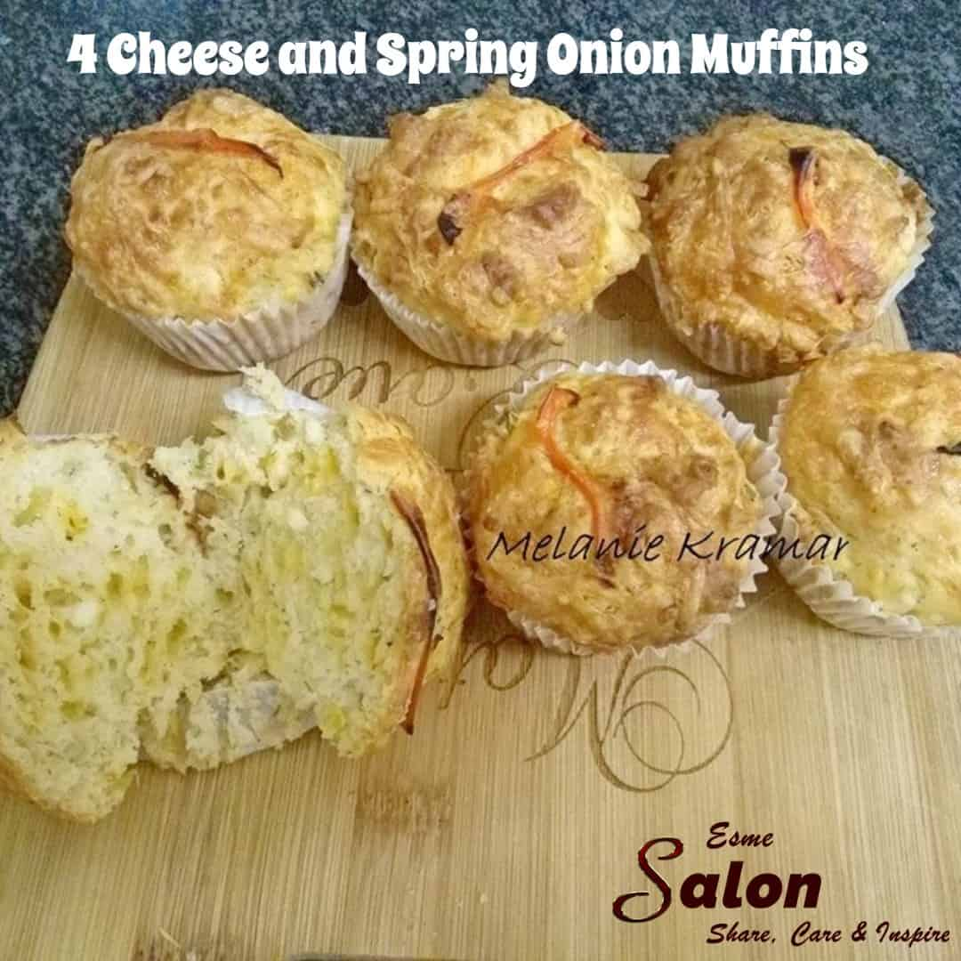 4 Cheese and Spring Onion Muffins #muffins #cheese  6 Muffins on wood board, made of 4 different kinds of cheese