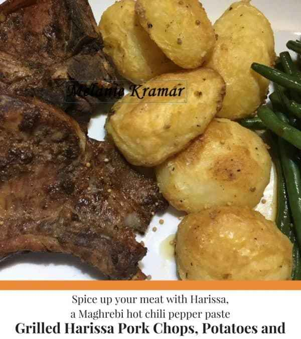 Grilled Harissa Pork Chops, Potatoes and Green Beans