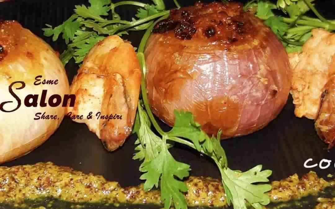 Stuffed Onion with Prawn Tolma