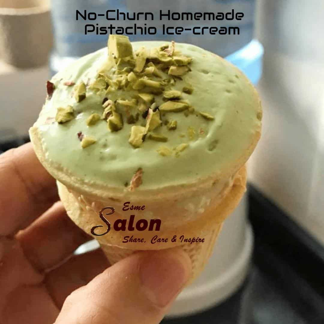 No-Churn Homemade Pistachio Ice-cream