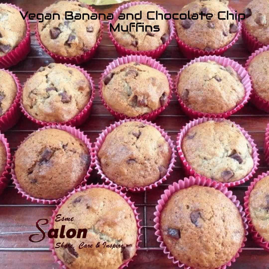 Vegan Banana and Chocolate Chip Muffins