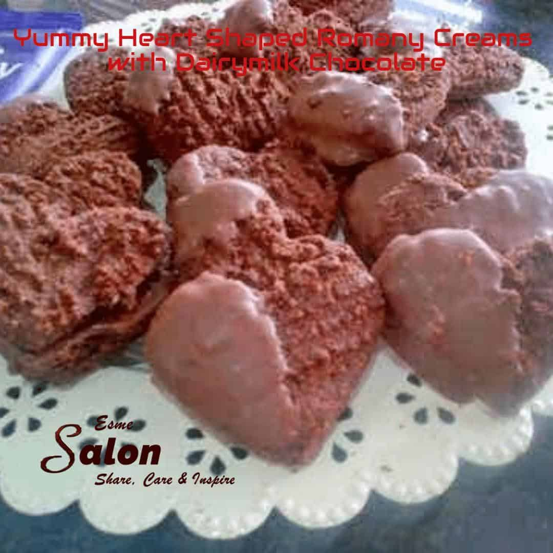 Yummy Heart Shaped Romany Creams with Dairymilk Chocolate