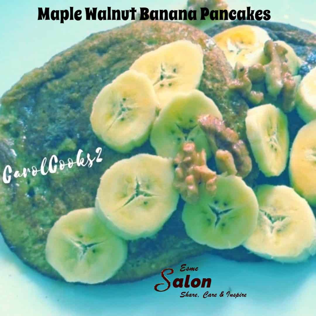 Maple Walnut Banana Pancakes are a great breakfast to serve the family
