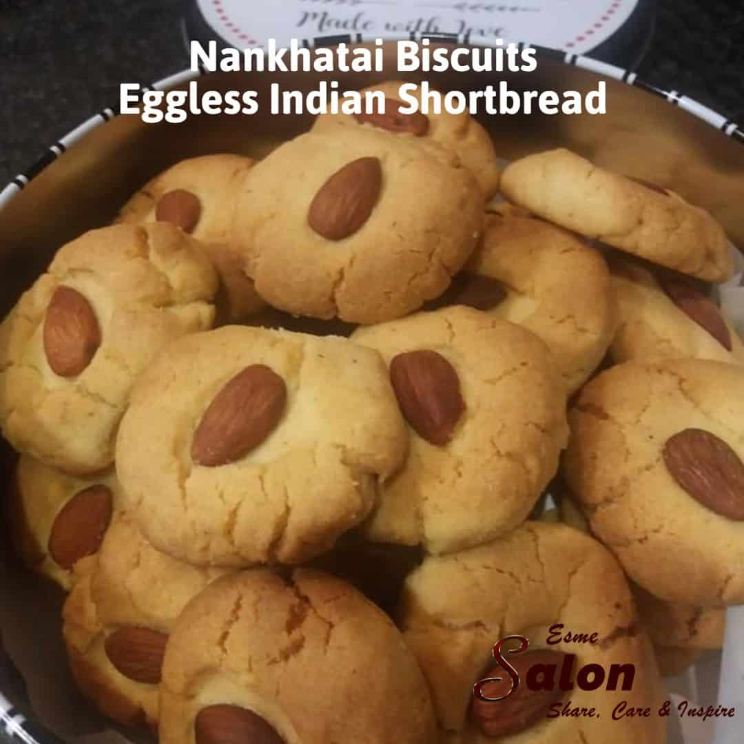 Tin filled with Eggless Indian Shortbread Cookies #homemade #egglessbaking #heresmyfood #foooodieee