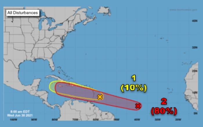 Meteorología orienta sobre dos ondas tropicales que se acercan