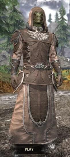 Ancestral High Elf Homespun - Argonian Male Robe Front