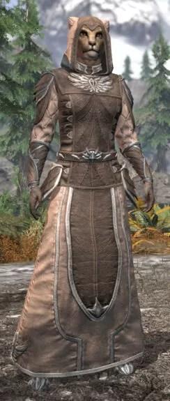 Ancestral High Elf Homespun - Khajiit Female Robe Front