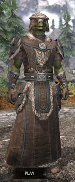 Ancestral Nord Homespun - Argonian Male Robe Front
