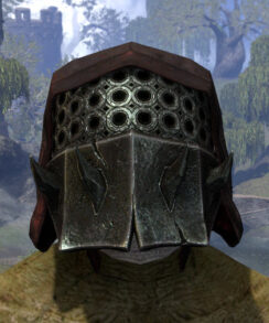 Crimson Oath Medium Helmet - Argonian Male Front