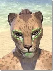 Bright-Throat Algae Face Tattoo Khajiit Female Front