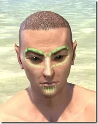 Bright-Throat Algae Face Tattoo Male Front