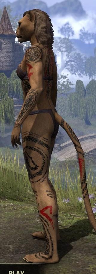 Shattered Chivalry Body Tattoo - Khajiit Female Side