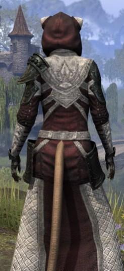 Silver Rose Light - Khajiit Female Robe Close Rear