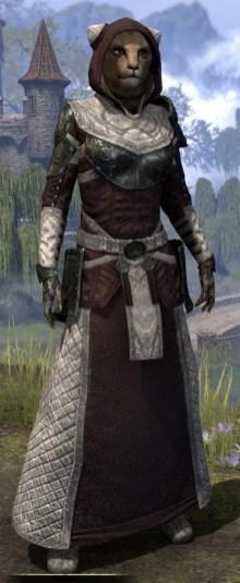 Silver Rose Light - Khajiit Female Robe Front