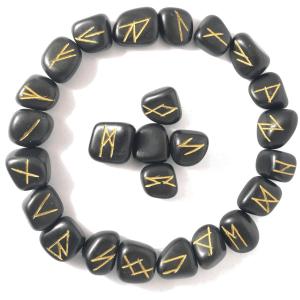 Runes Divinatoires Agate Noire