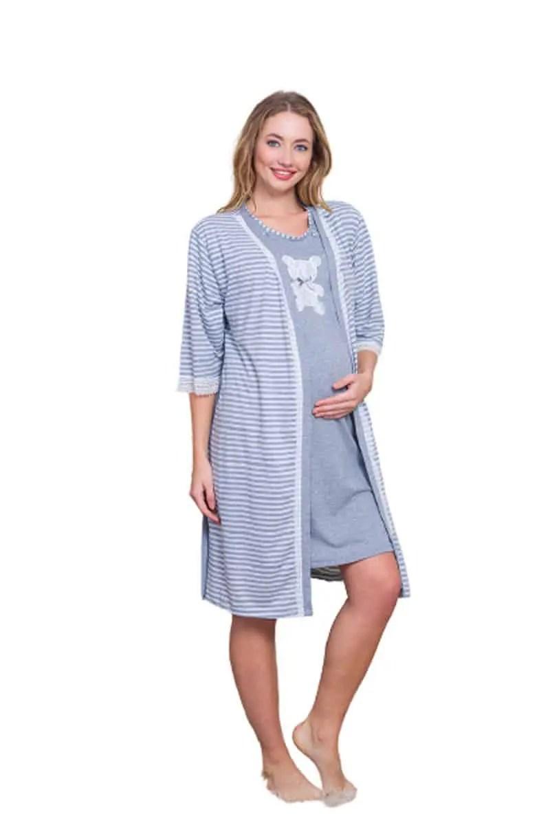 Teddy Maternity Robe & Nightgown Set -