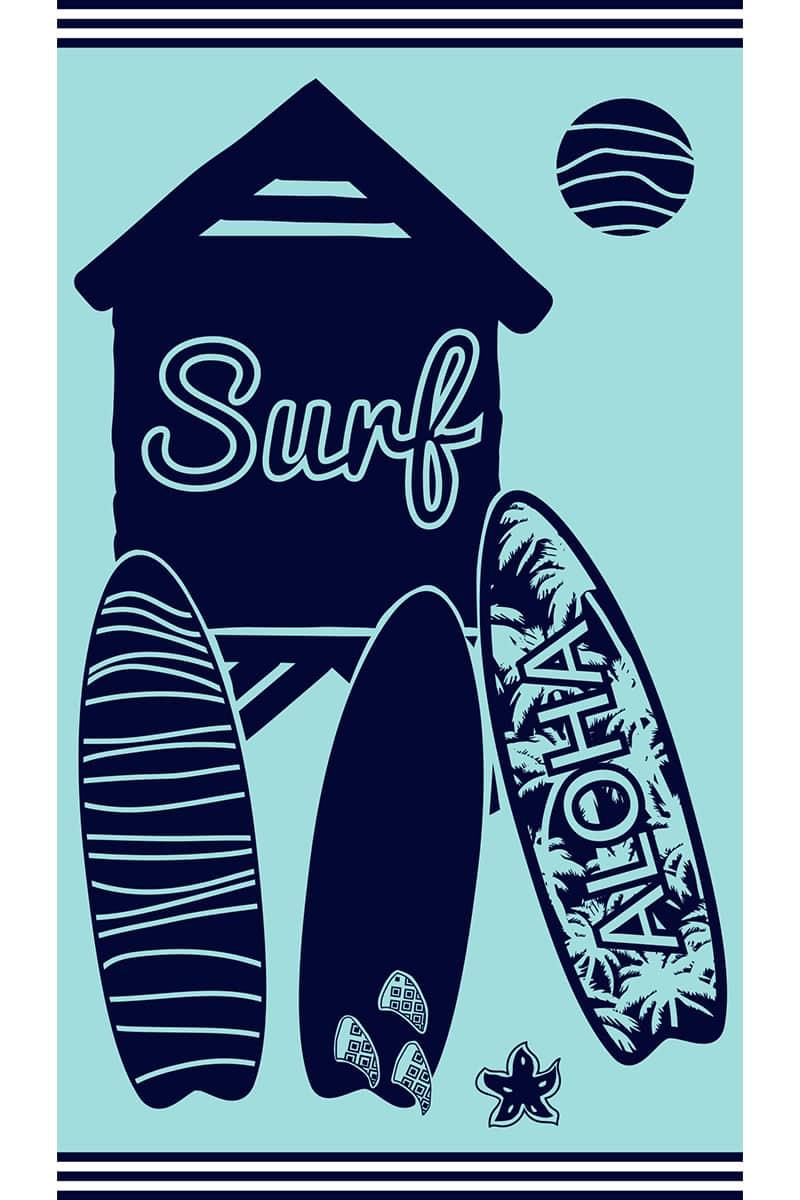 Beach Towel 100x175cm Surfspots 100% Cotton - Le Comptoir De La Plage
