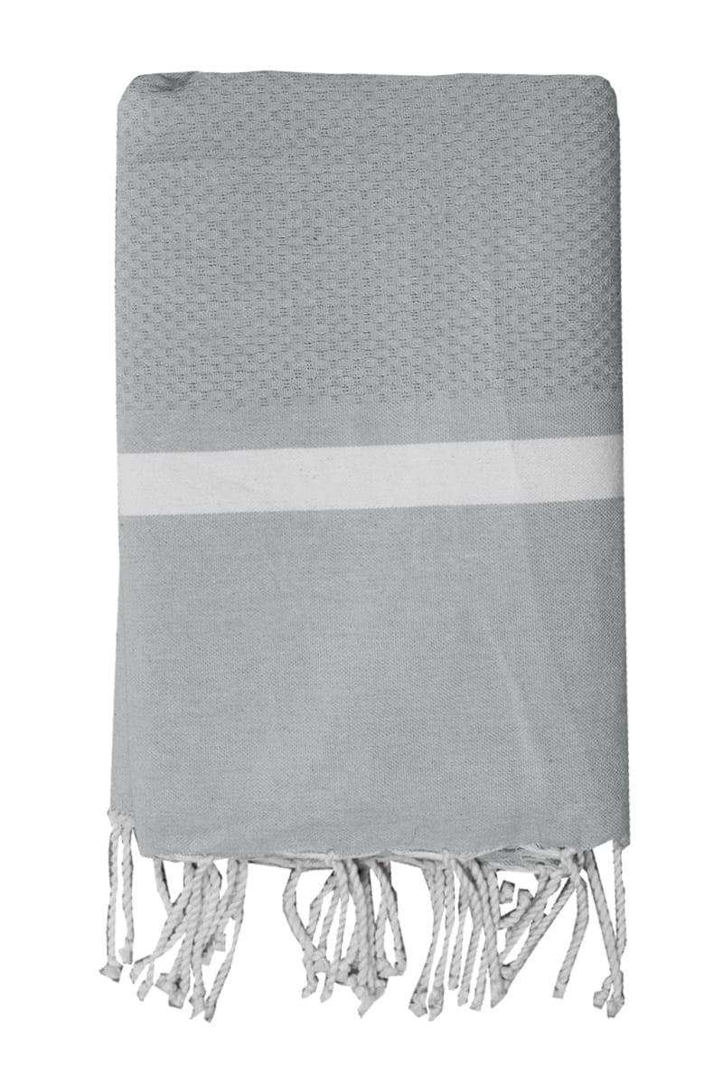 Beach Towel - Hammam Mellissa 100x200cm Grey - Le Comptoir De La Plage