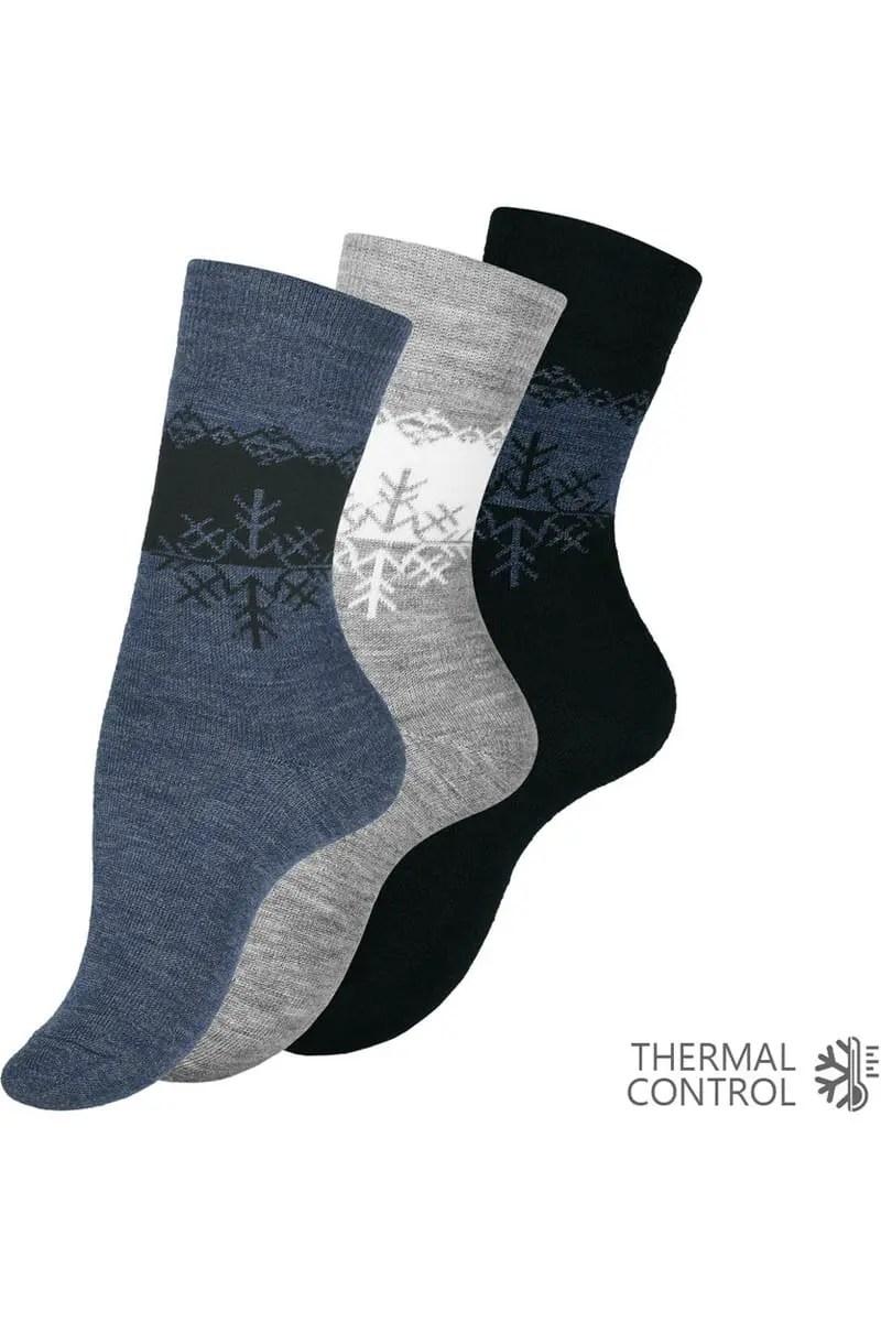 Ισοθερμικές Κάλτσες Γυναικείες Με Σχέδιο Χιόνι (3 Pack) - Vca Textil