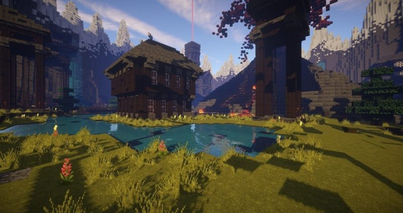 A Minecraft House and Landscape