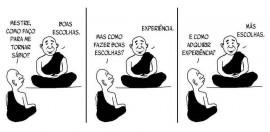 Sabedoria vs Experiência cartoon mensagem mestre budista