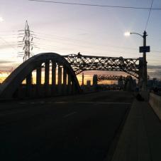Sixth Street Bridge as night falls