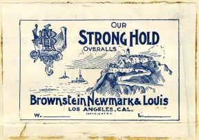 Stronghold Brownstein Newmark and Louis overalls 1897