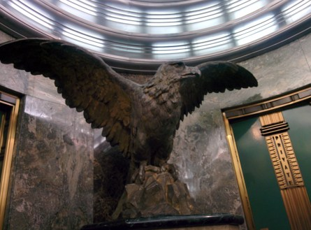 Kaufmann elevator lobby eagle that survived the 1910 bombing