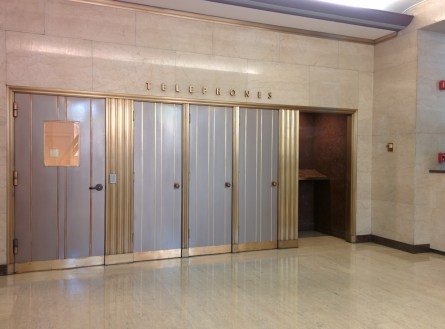 Crawford addition lobby telephone booths
