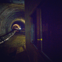 Control booth with tunnel beyond