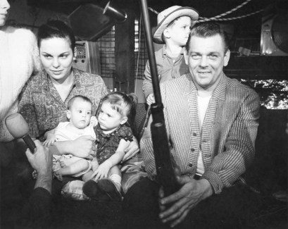 The Anthony Family living room during standoff. Feb. 1964