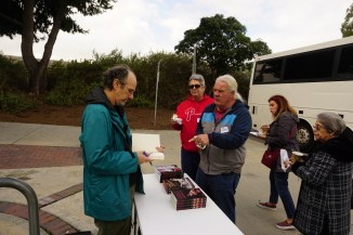 Author, Brad Schreiber, signing his book, Revolution's End: The Patty Hearst Kidnapping, Mind Control, and the Secret History of Donald DeFreeze and the SLA, at the coffee break at Hollydale Regional Park in South Gate.