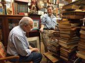 Leonard in his bookshop being interviewed