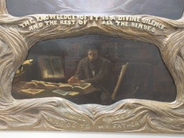 """The Prodigal ('The Kingdom of Heaven is Within You') Reginald Machell (1854-1927) Oil on two separate canvases, c. 1895 Hand-carved frame by the artist Reginald Machell placed the Hermetic axiom """"The knowledge of IT is a divine silence, and the rest of all the senses"""" centrally in his painting, """"The Prodigal."""""""