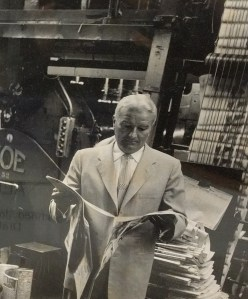 Norman Chandler at the presses