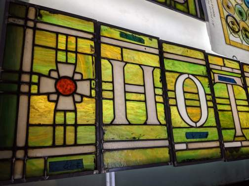 Detail, King Edward Hotel stained glass awning.