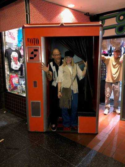 """Alison Martino & Jeff Mantor on location for """"Once Upon A Time In Hollywood,"""" at the recreated Larry Edmunds Bookshop."""