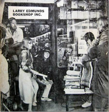 "Jeanne Moreau and Donald Sutherland ready to film a scene from the 1970 Paul Mazursky film, ""Alex In Wonderland,"" in front of the Larry Edmunds Bookshop"