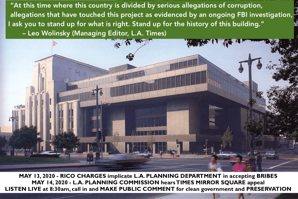 Richard Schave's Public Comment to Los Angeles Planning Commission on Times Mirror Square