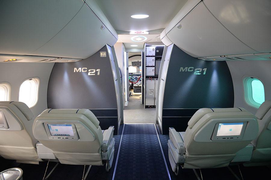 La parte interior de la aeronave MS-21