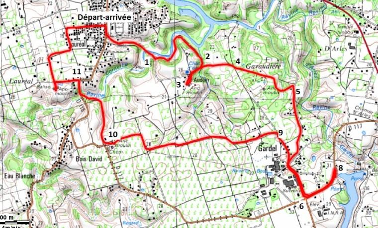Carte du parcours de la randonnée