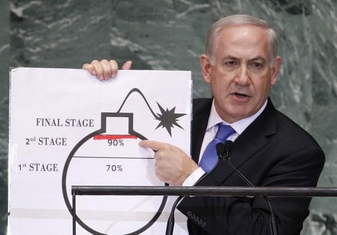 Netanyahu durante su intervención en la 67a Asamblea General de las Naciones Unidas (septiembre de 2012)