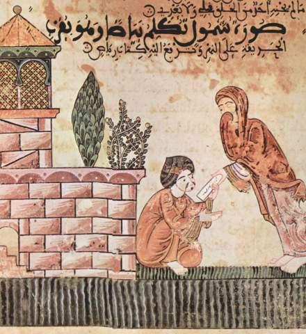 """La historia de Bayad y de Riyad (""""hadiz Bayad wa Riyâd"""". Escena: Shanûl ofrece a Bayad una carta de Riyâd"""