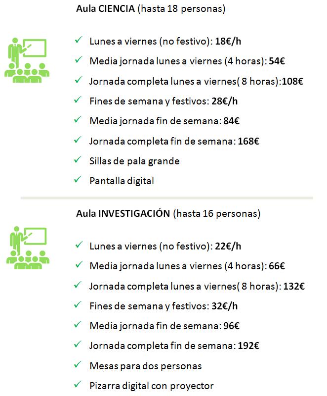 Tarifas aulas de formación y salas de reuniones en Madrid