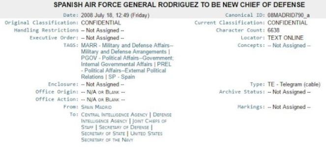 Cabecera del documento revelado por revelado en los papeles de Wikileaks, en el que la CIA avala el nombramiento de Julio Rodríguez como Jefe del Estado Mayor de la Defensa (JEMAD)
