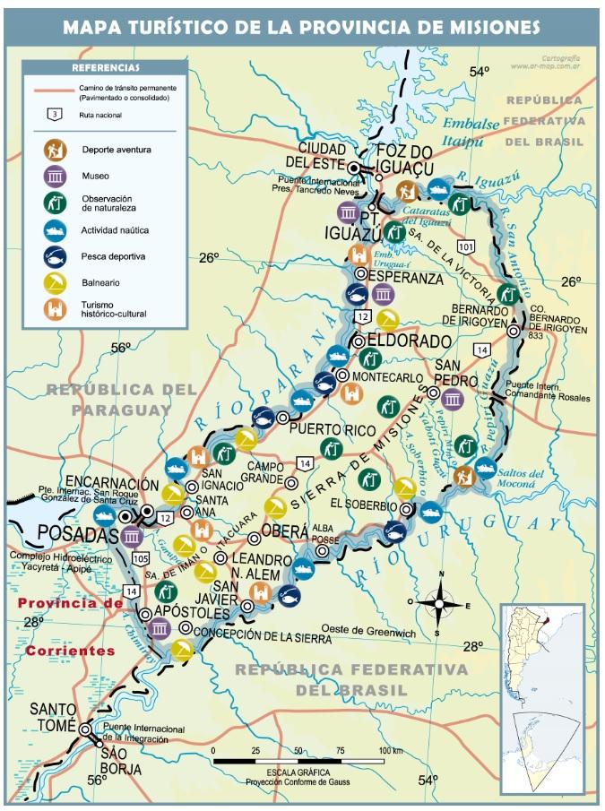 mapa turistico provincia de misiones
