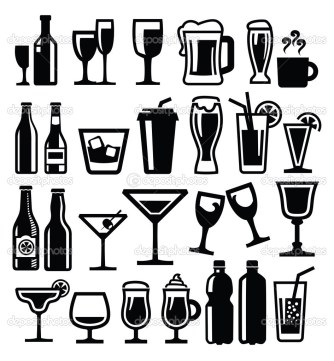 vector black beverages icon set on white
