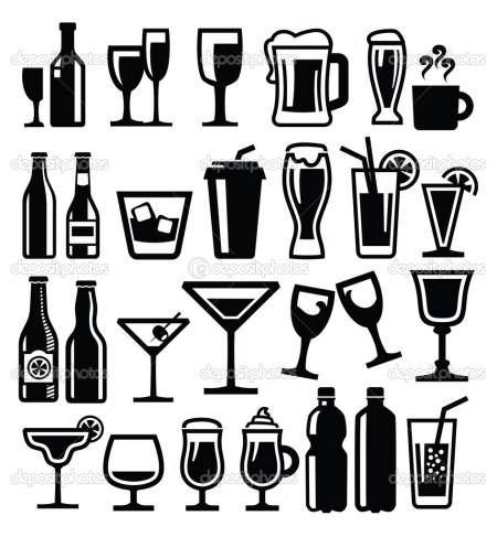 vector black beverages icon set on white