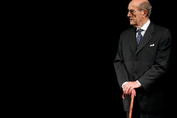 Director Manoel de Oliveira stands on stage during an homage to his career at Cannes