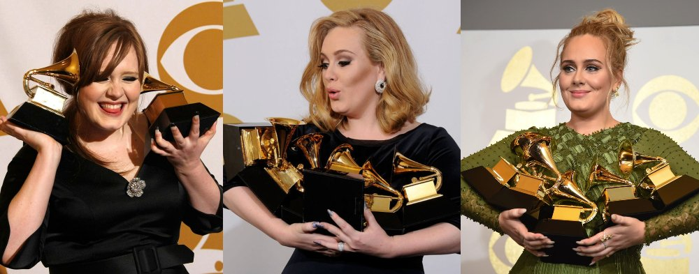 Adele nos Grammys, 2009, 2012 e 2017 (Getty Images)
